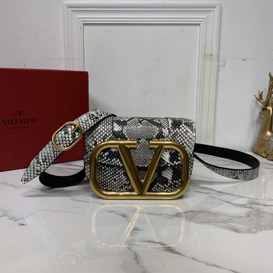 2020 Valentino Supervee Small Snake-Print Shoulder Bag with maxi metal logo