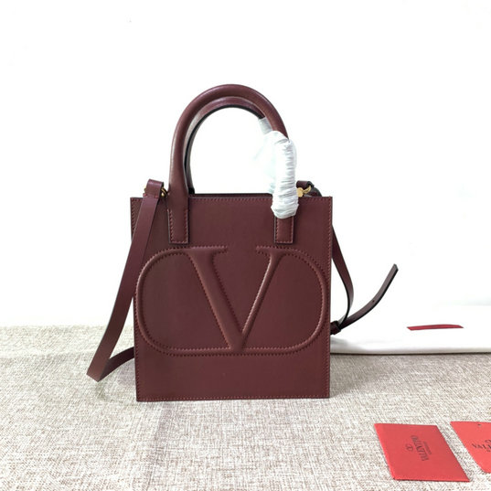 2020 Valentino Small VLogo Walk Tote Bag in Burgundy Calfskin Leather