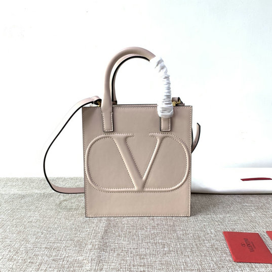 2020 Valentino Small VLogo Walk Tote Bag in Nude Calfskin Leather