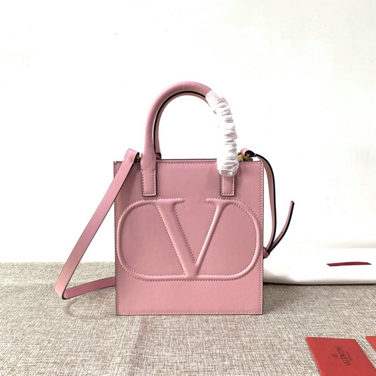 2020 Valentino Small VLogo Walk Tote Bag in Pink Calfskin Leather