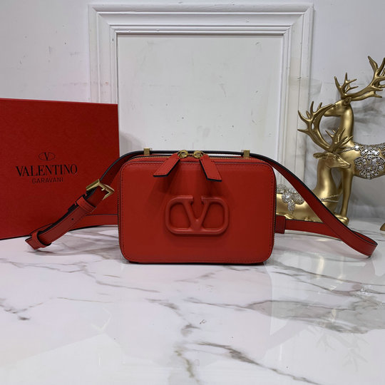 2020 Valentino VSLING Smooth Calfskin Crossbody Bag in Red Leather