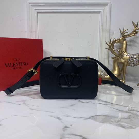 2020 Valentino VSLING Smooth Calfskin Crossbody Bag in Black Leather