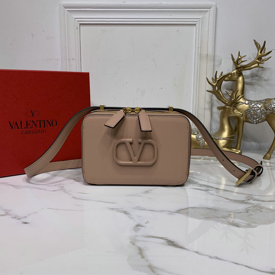 2020 Valentino VSLING Smooth Calfskin Crossbody Bag in Nude Leather