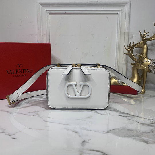 2020 Valentino VSLING Smooth Calfskin Crossbody Bag in White Leather
