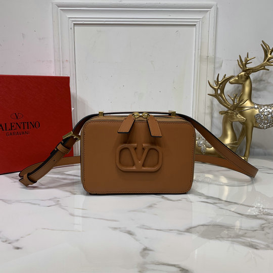 2020 Valentino VSLING Smooth Calfskin Crossbody Bag in Brown Leather