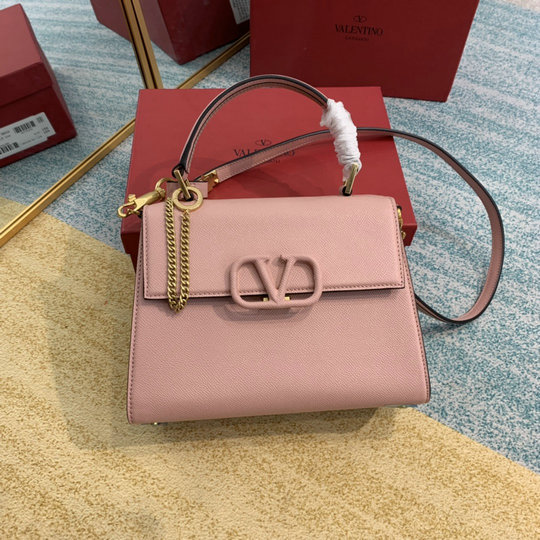 2020 Valentino Small Vsling Handbag in Pink Grainy Calfskin Leather
