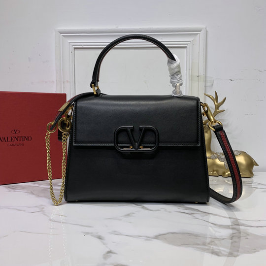 2020 Valentino Small Vsling Handbag in Black Smooth Calfskin Leather