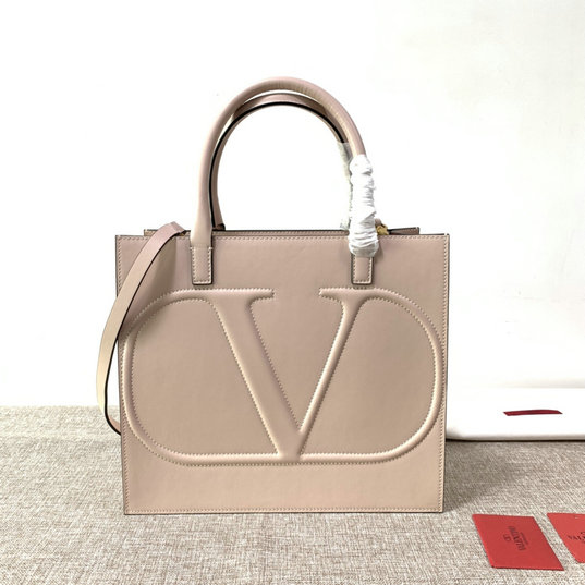 2020 Valentino VLogo Walk Tote Bag in Nude Calfskin Leather