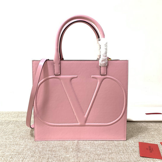 2020 Valentino VLogo Walk Tote Bag in Pink Calfskin Leather