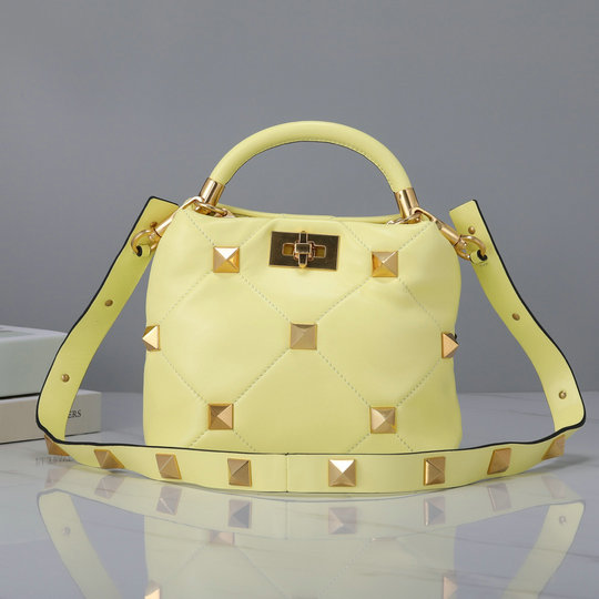 2021 Valentino Small Roman Stud The Handle Bag in Lime Sorbet Nappa Leather