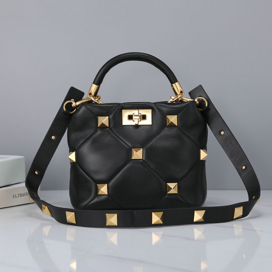 2021 Valentino Small Roman Stud The Handle Bag in Black Nappa Leather
