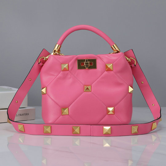 2021 Valentino Small Roman Stud The Handle Bag in Flamingo Pink Nappa Leather
