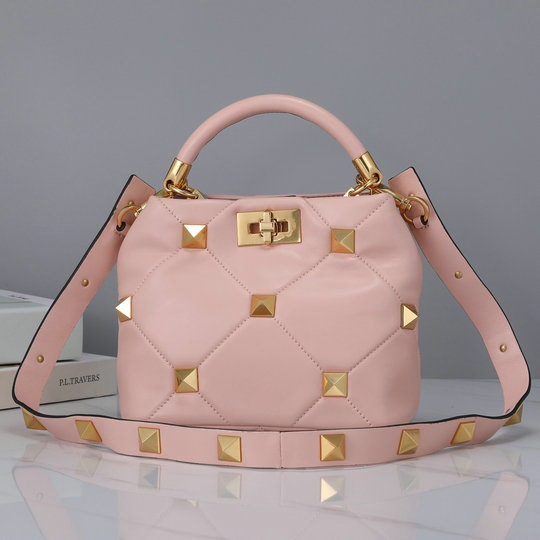 2021 Valentino Small Roman Stud The Handle Bag in Rose Cannelle Nappa Leather