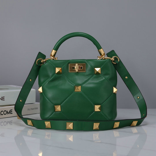 2021 Valentino Small Roman Stud The Handle Bag in Green Nappa Leather