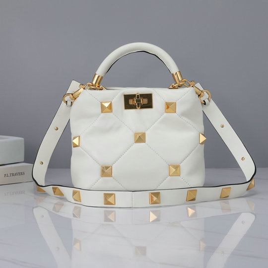 2021 Valentino Small Roman Stud The Handle Bag in Ivory Nappa Leather