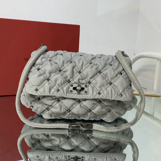 2021 Valentino Medium SpikeMe Shoulder Bag in Grey Nappa Leather
