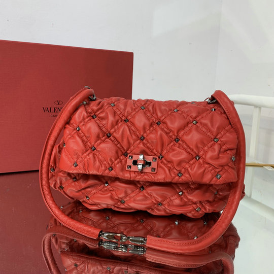 2021 Valentino Medium SpikeMe Shoulder Bag in Red Nappa Leather