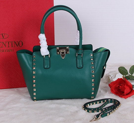 Valentino 2015 Rockstud Small Double Handbag Tote Green