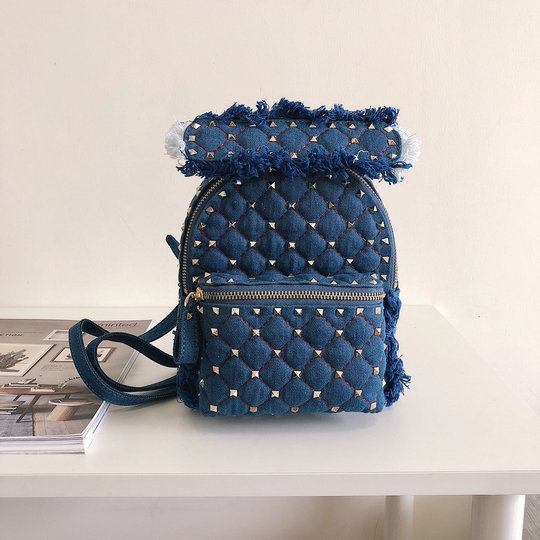 2018 S/S Valentino Rockstud Spike Mini Backpack in Blue Denim