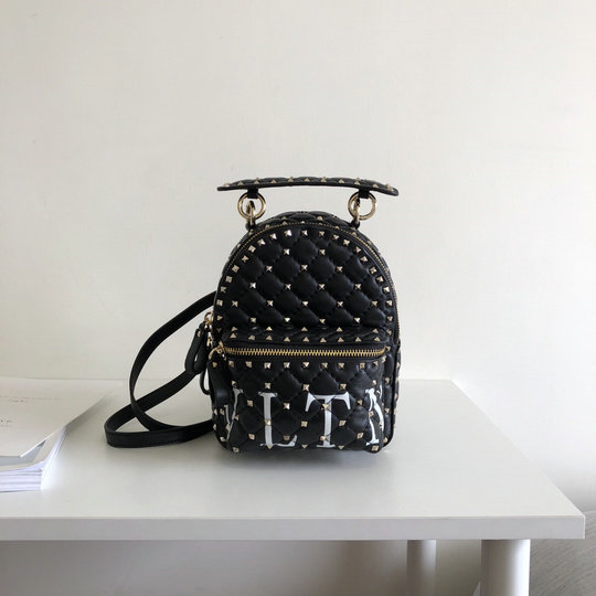 2018 S/S Valentino Rockstud VLTN Spike Mini Backpack in Black Lambskin Leather
