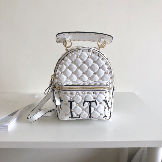 2018 S/S Valentino Rockstud VLTN Spike Mini Backpack in White Lambskin Leather