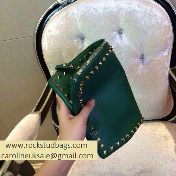 Valentino 2014 fall winter rockstud clutch in green
