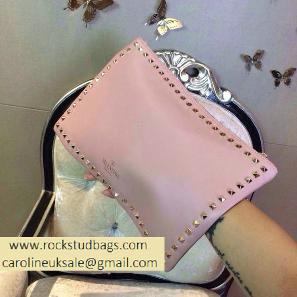 Valentino 2014 fall winter rockstud clutch in pink