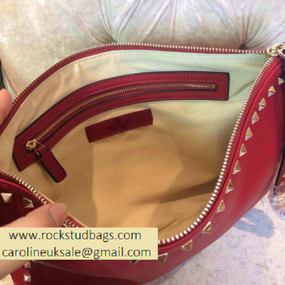 Valentino 2014 fall winter rockstud clutch in red