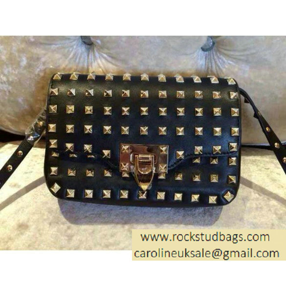 Valentino black All Over Rockstud flap Bag