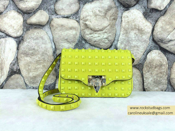 Valentino Fluo Green Rockstud All Over Crossbody Bag
