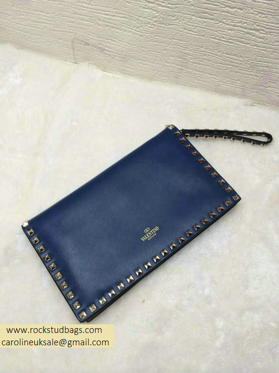 Valentino Rockstud Clutch in Deep Blue