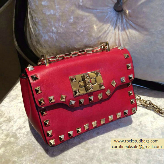 Valentino Rockstud chain shoulder bag Red