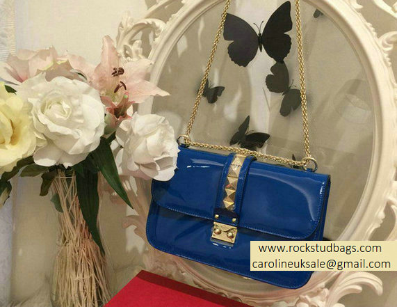 Valentino Royal Blue Rockstud Flap Medium Bag