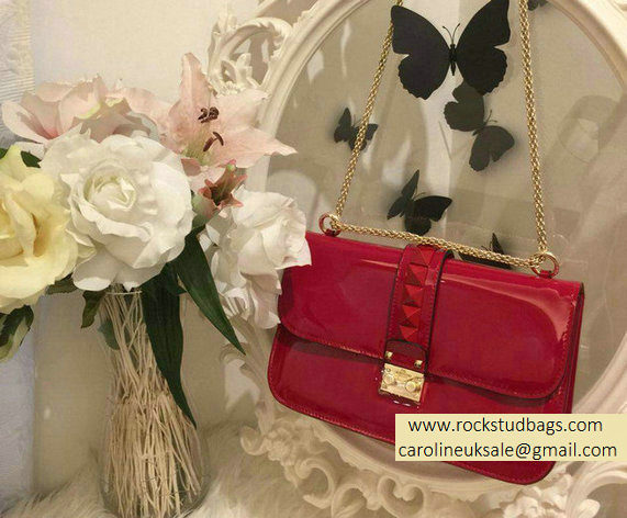 Valentino Red Rockstud Flap Medium Bag