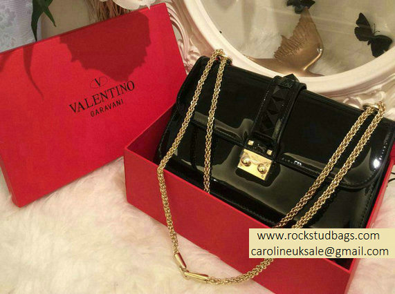 Valentino Black Rockstud Flap Medium Bag