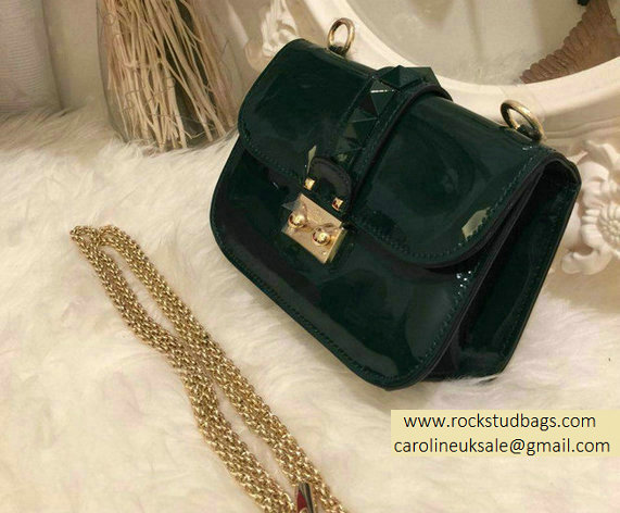 Valentino Hunter Green Rockstud Flap small Bag