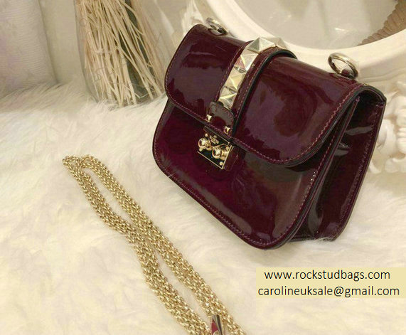 Valentino Burgundy Rockstud Flap small Bag