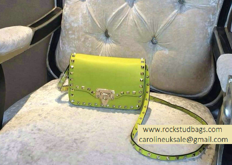 Valentino fluorescent yellow mini Rockstud Crossbody Bag