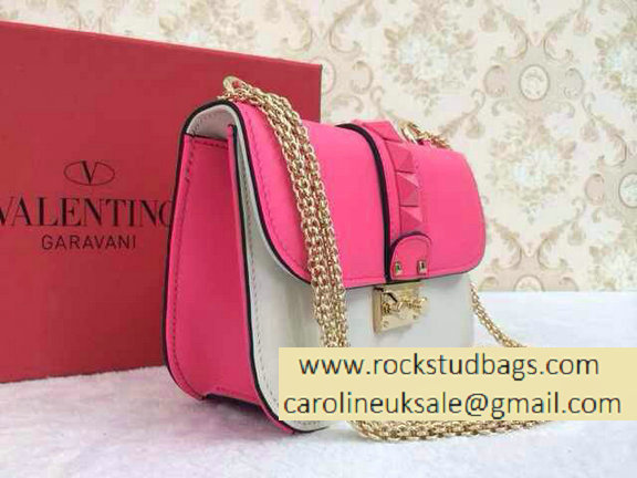 Valentino Psychedelic Rockstud Lock Shoulder Bag Bright Pink/White Cruise 2015