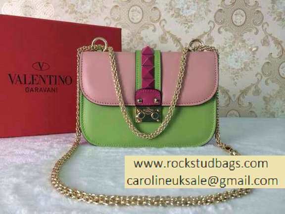 Valentino Psychedelic Rockstud Lock Shoulder Bag Bright Pink/Green Cruise 2015