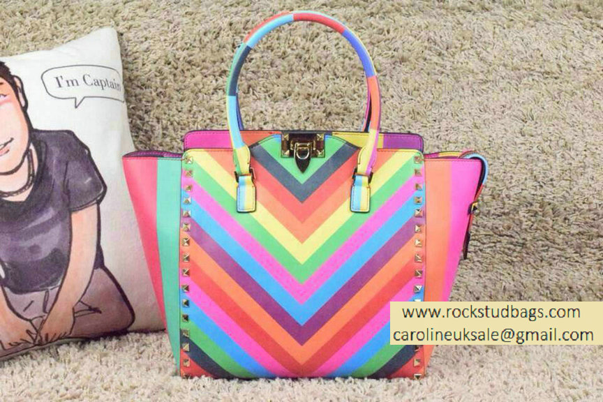 Valentino Rockstud Double Handle Tote Bag in Multicolor Calfskin 2015