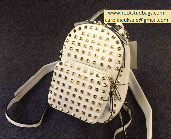 Valentino White Full Rockstud Small Backpack