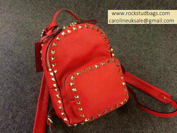 Valentino Red Rockstud Small Backpack(Gold Hardware))