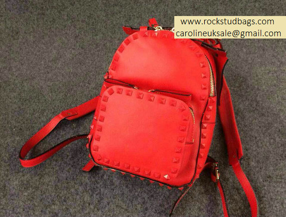 Valentino Red Rockstud Small Backpack(Red Rivet)