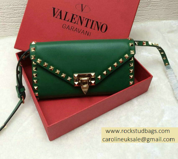 Valentino Rockstud Wallet With Shoulder Srap Green 2015