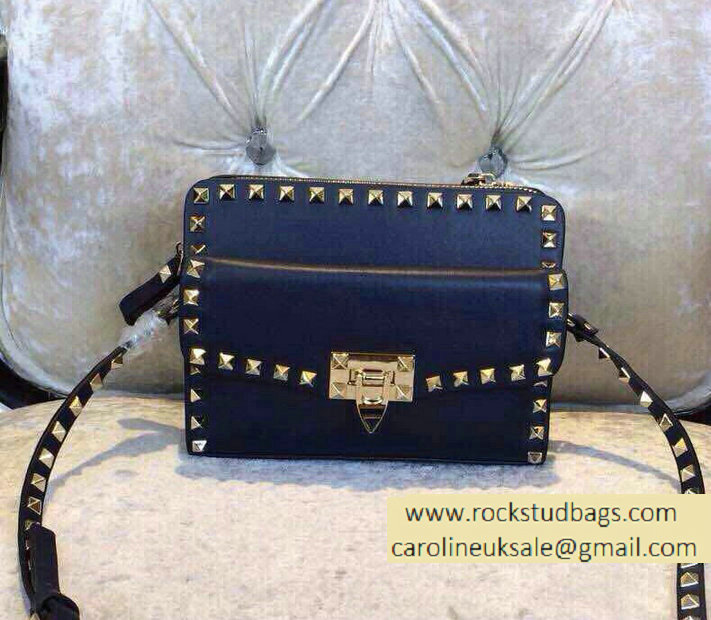Valentino Two Part Shoulder Bag Dark Blue 2015