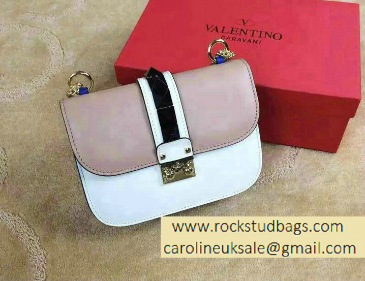 Valentino Psychedelic Rockstud Lock Shoulder Bag Pink/White Cruise 2015