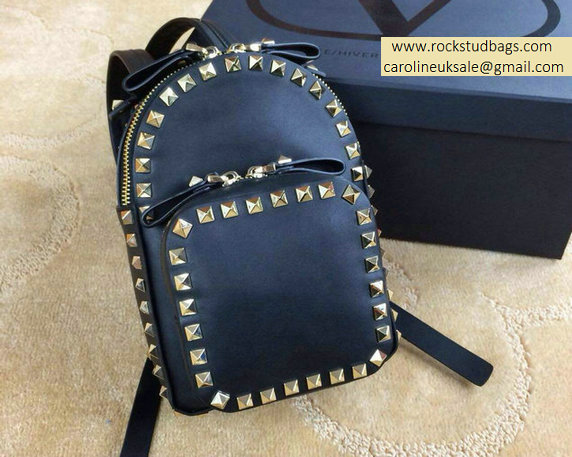 Valentino Black Rockstud Small Backpack(Silver Hardware)