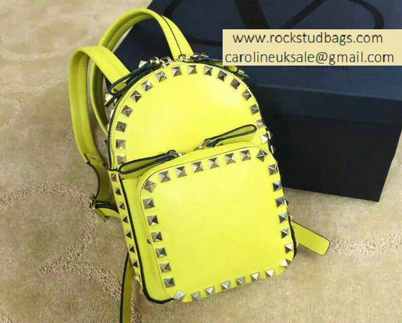 Valentino Yellow Rockstud Small Backpack(Silver Hardware)