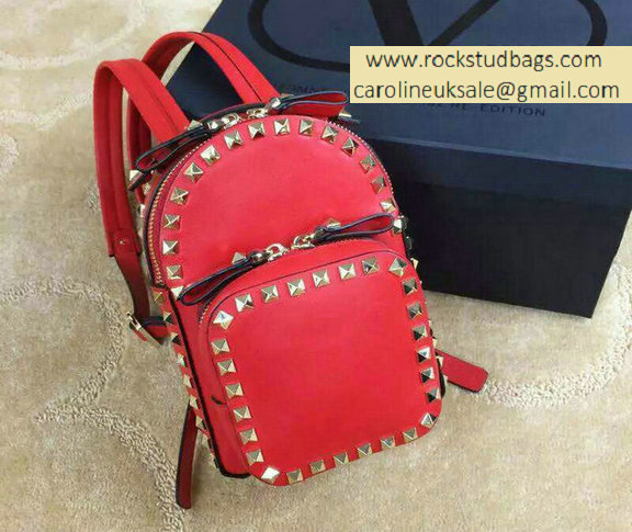 Valentino Red Rockstud Small Backpack(Silver Hardware)